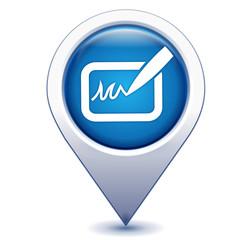signature sur marqueur gps géolocalisation bleu