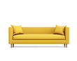 Isolated contemporary yellow sofa with cushions - 80528290