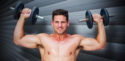 Composite image of bodybuilder lifting dumbbells