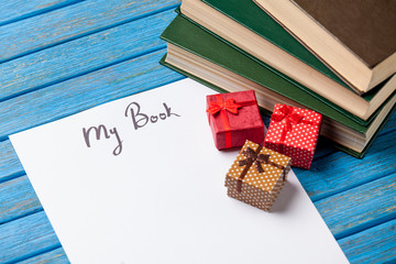 Gift boxes, books and paper with My Book words