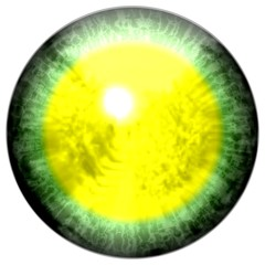 Isolated green eye with large pupil and bright yellow retina