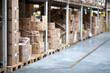 Warehouse, boxes, shelf, aisle