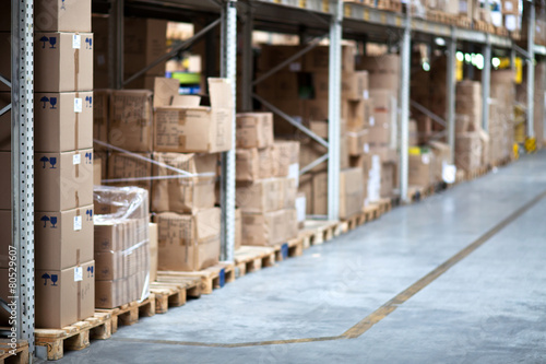Foto op Plexiglas Industrial geb. Warehouse, boxes, shelf, aisle