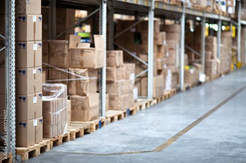 Warehouse, boxes, shelf, aisle - 80529607