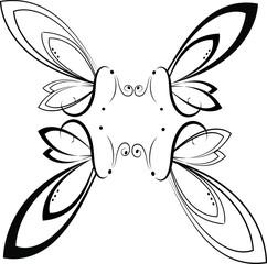 Farfalle bianco e nero in simetria