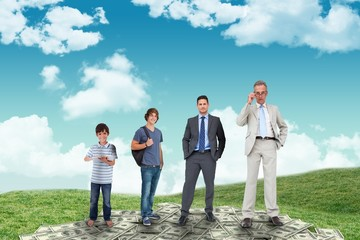 Composite image of life stages of businessman