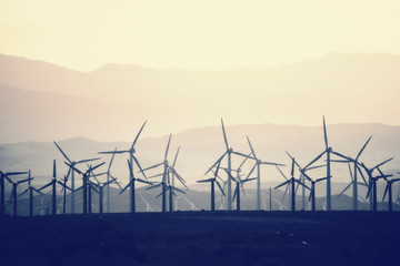 Wind power turbines in the landscape. A large number of turbine powers on a plain against a mountain backdrop.
