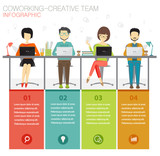 coworking, creative team infographic concept