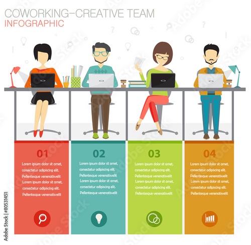 coworking, creative team infographic concept - 80531451