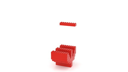 Toy bricks red dollar sign over a white background