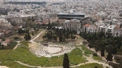 overview of the Theatre Dionysus Eleuthereus Athens, Greece