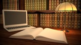 Book. 3D. Laptop in classic library