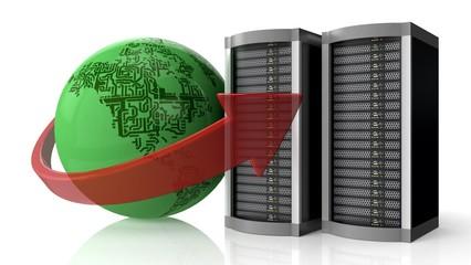 Network Server. 3D. Global hosting