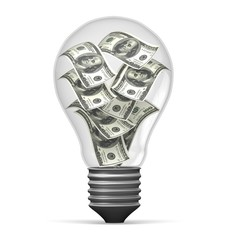 Currency. 3D. Money In Light Bulb