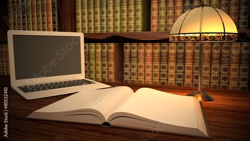 Book. 3D. Laptop in classic library - 80532410