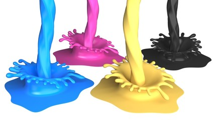 Printing Press. 3D. Cmyk paint vessel