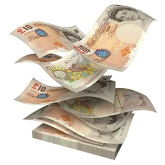 British Currency. 3D. Falling Money