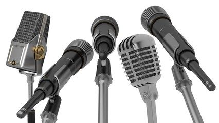 Microphone. 3D. Multiple interview