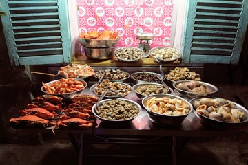 fresh seafood street stall in Ho Chi Minh City, Vietnam