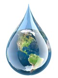 Water. 3D. Earth Droplet - 80533452