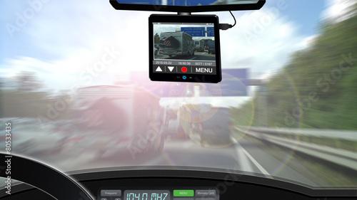Leinwandbild Motiv Dashcam - Autoverkehr Überwachung Strassenverkehr - 16zu9 g3453