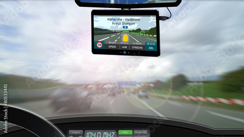 Leinwanddruck Bild Navigationsgerät - Autoverkehr - Routenplanung - 16zu9 g3454