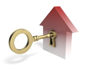 House. 3D. Golden Key to Opportunity XL