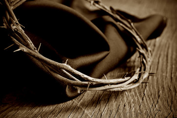 the crown of thorns of Jesus Christ, sepia toning