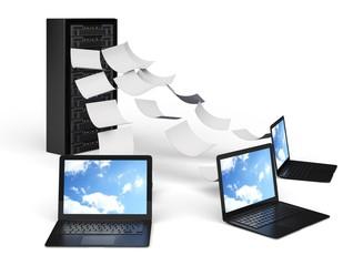 Data. 3D. Computer Data Center