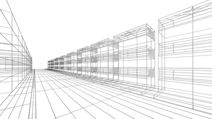 Architecture. 3D. Architecture abstract