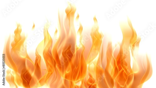 canvas print picture Fire. 3D. Fire Flames on white
