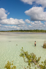 Beautiful exploring Adventure at tranquil Bacalar lake. Riviera