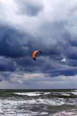 Power kite at sky before rain