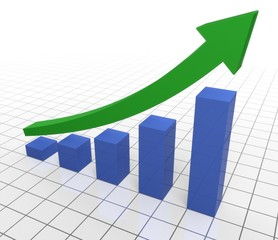 Investment. 3D. Business Graph