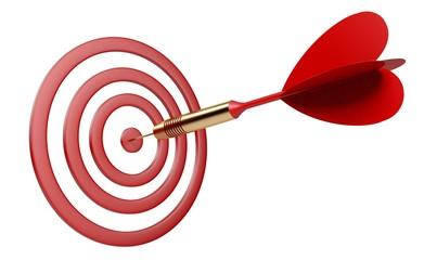 Target. 3D. Dart Hitting Target
