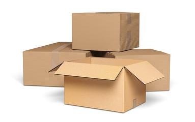 Box. 3D. Cardboard Boxes