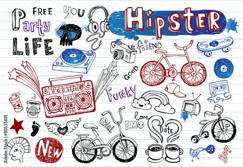 Hipsters doodle set - 80535691