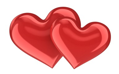 Heart Shape. 3D. Two Red Glass Hearts
