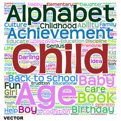Vector child education or family word cloud