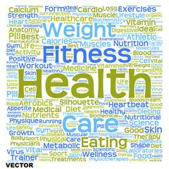 Vector conceptual health or diet word cloud