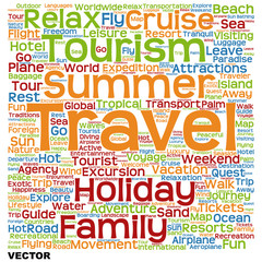 Vector conceptual tourism or travel  word cloud