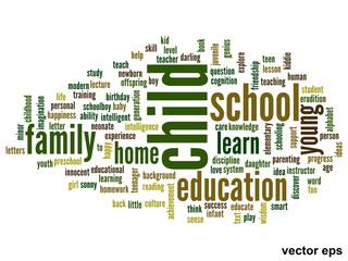 Vector conceptual child education word cloud