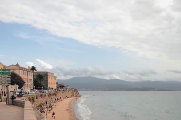 Beach in Mediterranean city. Ajaccio, Corsica, France