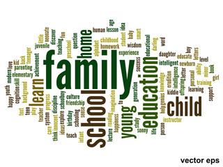 Vector conceptual family education word cloud