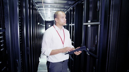 IT engineer working in a data centre