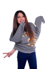 funny, beautiful girl is being crazy and pulling her pullover