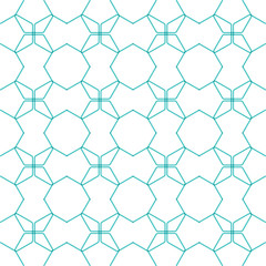 Hexagon line pattern. Repeat ornament. Black and white color.
