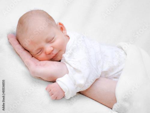 Leinwanddruck Bild schlafendes Baby