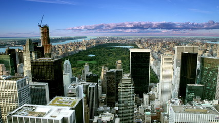 Time lapse from day to night of the New York City skyline at Central Park