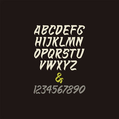 Vector calligraphic alphabet in indian style.